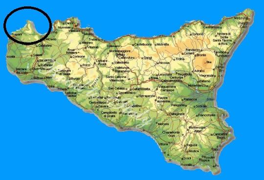 Sicilia Cartina San Vito Lo Capo.San Vito Lo Capo